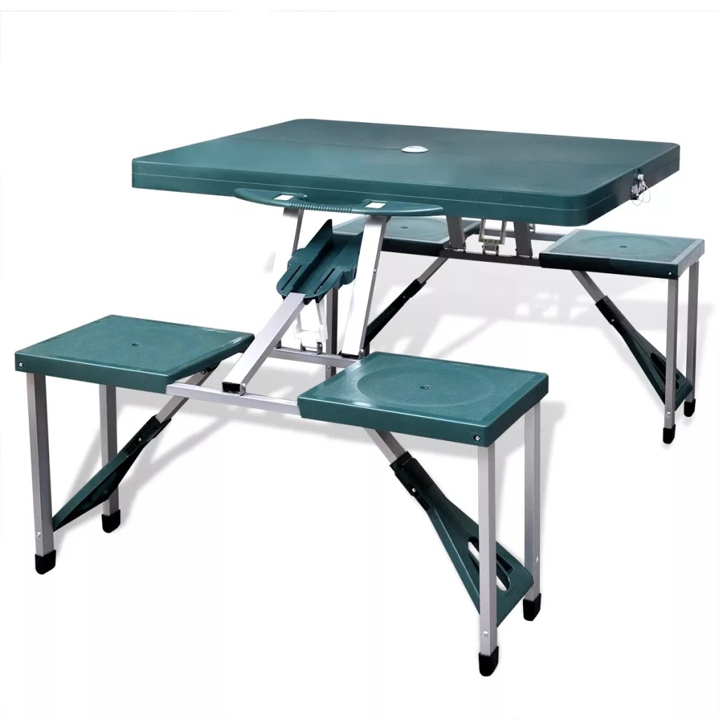 VidaXL Foldable Camping Table Set With 4 Stools Aluminium Extra Light Table Set Green Foldable For Easy Transport And Storage