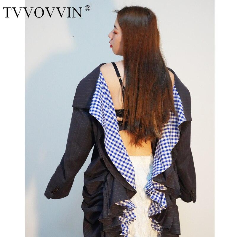 TVVOVVIN 2019 nouveau printemps femmes vêtements col rabattu manches complètes rayé dos nu volants veste costume unique E202