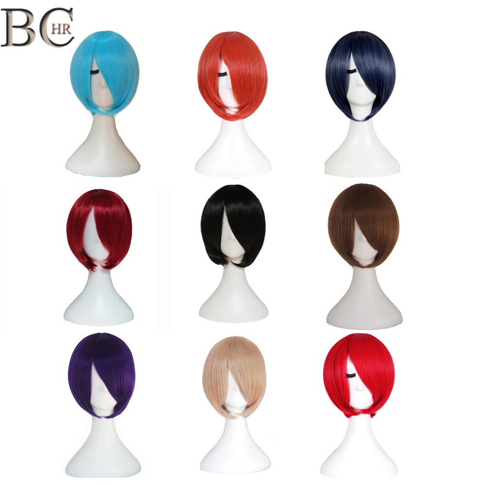 BCHR Short Bob Synthetic Cosplay Wig With Side Bang For Women Straight Blonde Wig Brown Blue Black Pink 24 Color Party Wigs