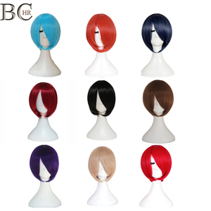 BCHR Short Bob Synthetic Cosplay Wig With Side Bang For Women Straight Blonde Wig Brown Blue Black Pink 24 Color Party Wigs(China)