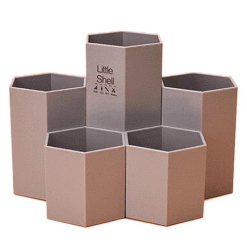 Color Random School Office Organizer 5In1 Assemble Hexagon Plastic Gel Pen Pencil Holder Desk Stationery Storage Container