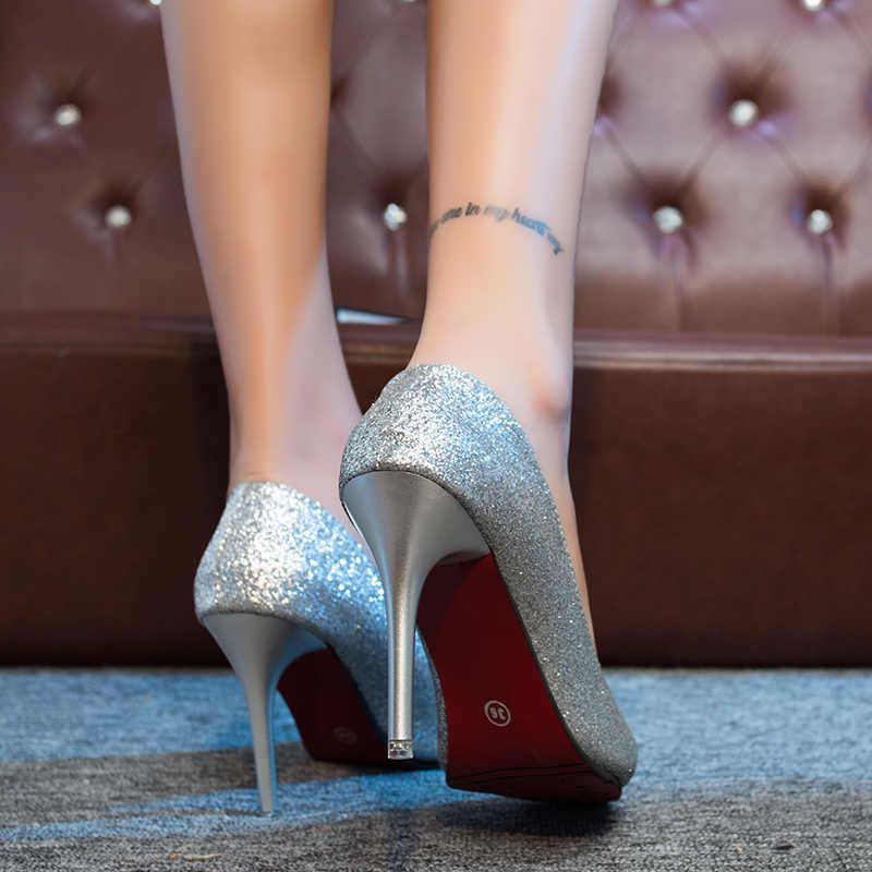 Seksi Zarif Gelin Düğün Ayakkabı Sivri Sığ Ağız Gümüş Yüksek Topuklu Moda Ince Topuklu Pullu Tek Ayakkabı Parti Elbise Pompaları