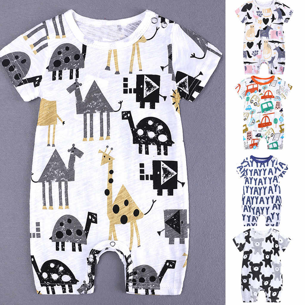 Toddler Kid Cartoon Priting Jumpsuit Baby Boys Romper Jumpsuit Outfit Clothes Summer Baby Kids Short Sleeve Clothing Suit Romper