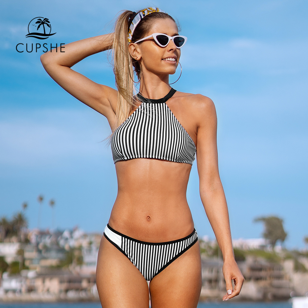 CUPSHE Black And White Stripe Tank Top Bikini Sets Sexy Low-Waisted Swimsuit Two Pieces Swimwear Women 2020 Beach Bathing Suits