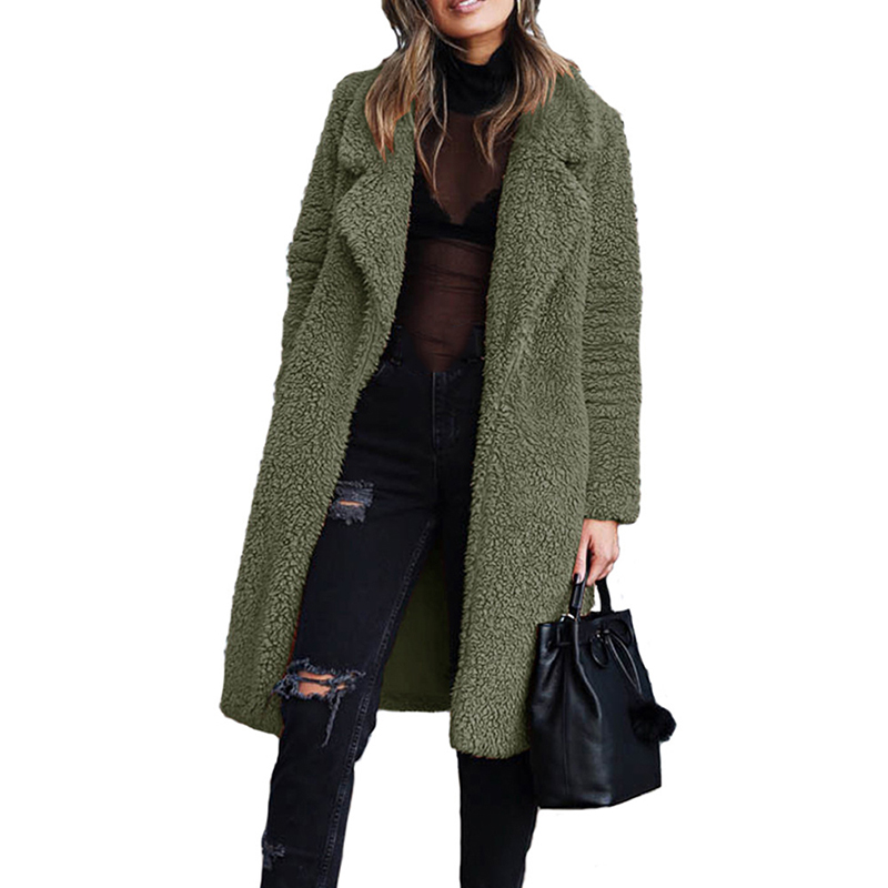2020 New Winter Thicken Fleece Coats Women Long Warm Long Sleeve Faux Fur Lapel Jacket Female Teddy Cardigan Outwear