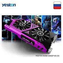 Yeston radeon rx 580 gpu 8 gb gddr5 256bit gaming desktop computador pc placas de vídeo suporte DVI D/hdmi pci e x16 3.0