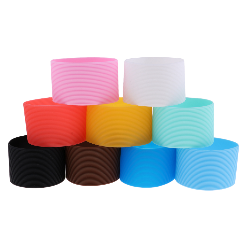 9Pcs Outdoor Silicone Round Non-slip Water Bottle Mug Cup Sleeve Cover Lightweight Durable