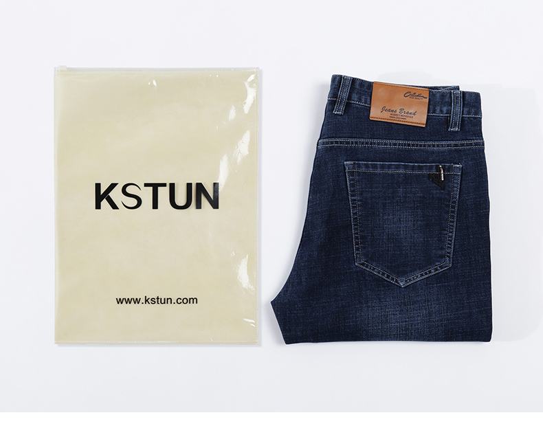 KSTUN Jeans Men Classic Straight Dark Blue Spring and Autumn Regular Fit Casual Pants Cotton Men's Clothing Trousers Male Jeans 19