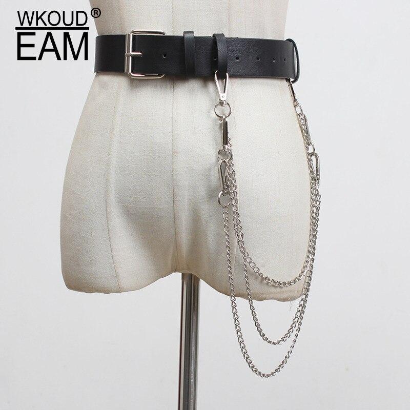 WKOUD EAM 2020 New Personality PU Leather Belt For Women Punk Metal Chain Wide Corset Belt Fashion Wild Waistband Tide PF297