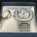 Роскошные мужские серебряные часы с бриллиантами и кольцо комбинированный набор алмазное регулируемое кольцо Рэпер Хип-хоп ледяные кубинс...