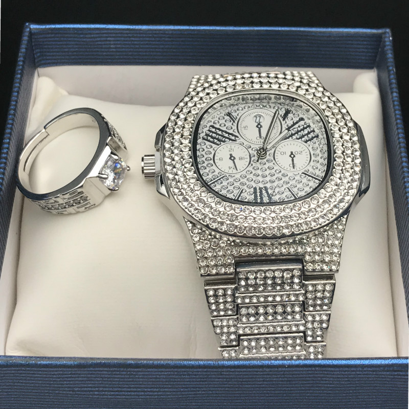 Luxury Men Silver Diamond Watch & Ring Combo Set Diamond Adjustable Ring Rapper Hip Hop Ice Out Cuban Watch & Ring Set For Men