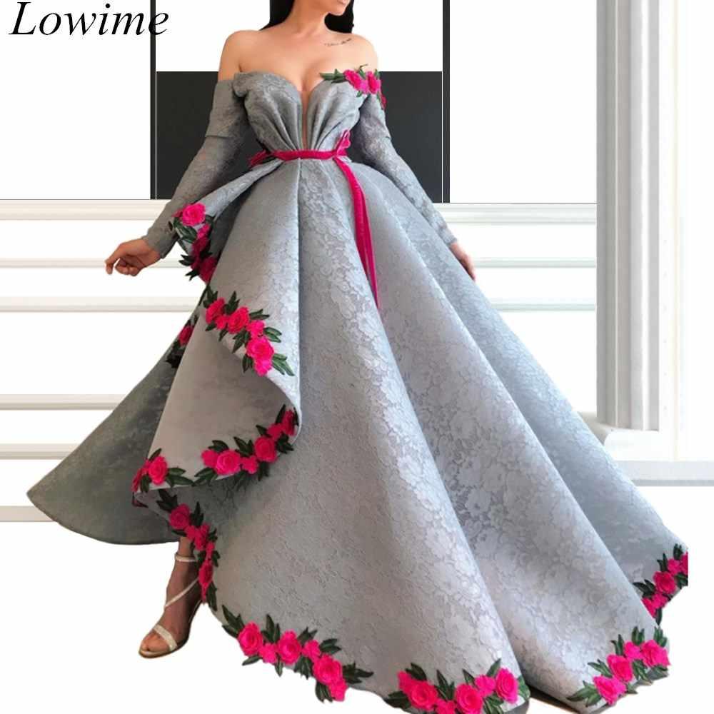 Robes de célébrité en dentelle grise enceinte de grande taille robes de soirée formelles asymétriques longues 2019 robes de bal arabe caftan