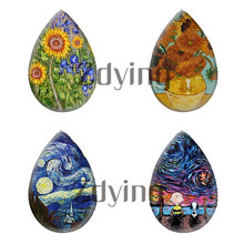 Zdying 10pcs Van Gogh Paintings Sunflower Starry Sky Water Tear Drop Glass Photo Cabochon Demo Flat Back DIY Jewelry Findings