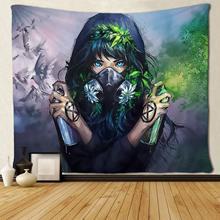 Зеленый и птица красивая девушка настенный гобелены