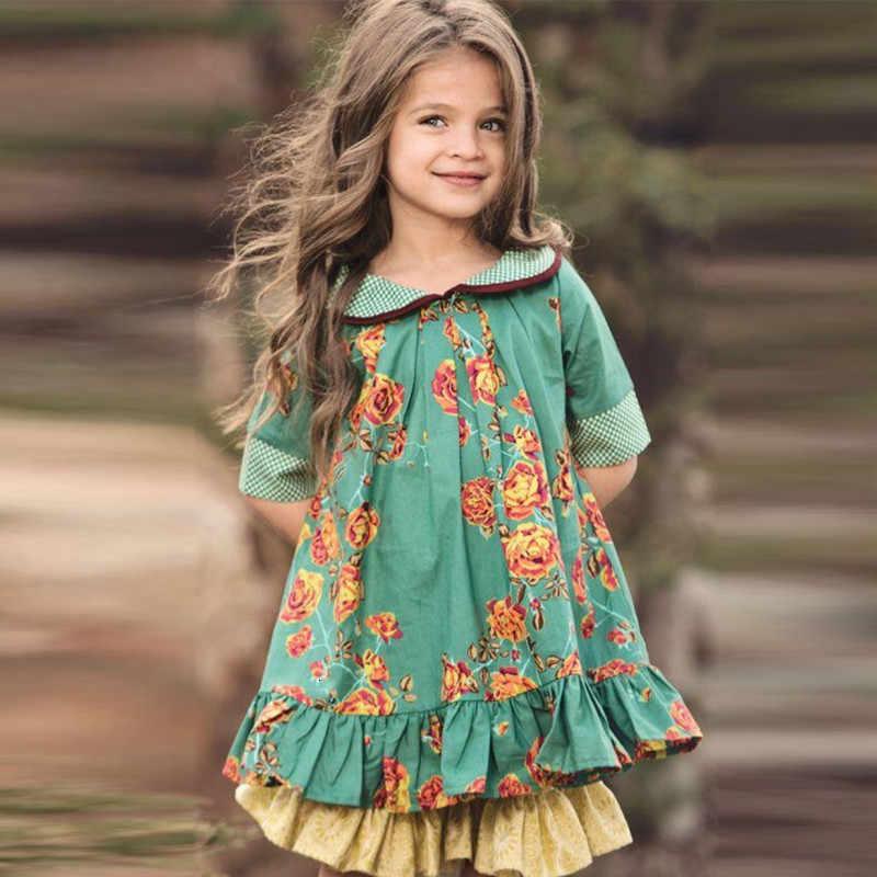 2020 çocuk ins bebek yaka giyim kızlar İngiliz tarzı retro elbise prenses çiçek parti çocuklar için elbiseler