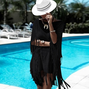 New Sexy Cover Up Bikini Women Swimsuit Cover Up Beach Bathing Suit Beach Wear Knitting Swimwear Mesh Beach Dress Tunic Robe 1