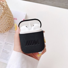 Car Logo Earphone Cases For Apple AirPods Suede Leather Bag Covers Bluetooth Wireless Air Pods Headp