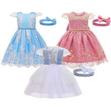 Girls Dresses Headband 2Pcs Baby 1st Birthday Party Ball Gown Dress Girl Princess Costumes For 1-5 Years Clothes Girl Dresses fashion girls dresses children embroidery flowers ball gown dress teen girl princess cosplay costumes girl birthday party dress