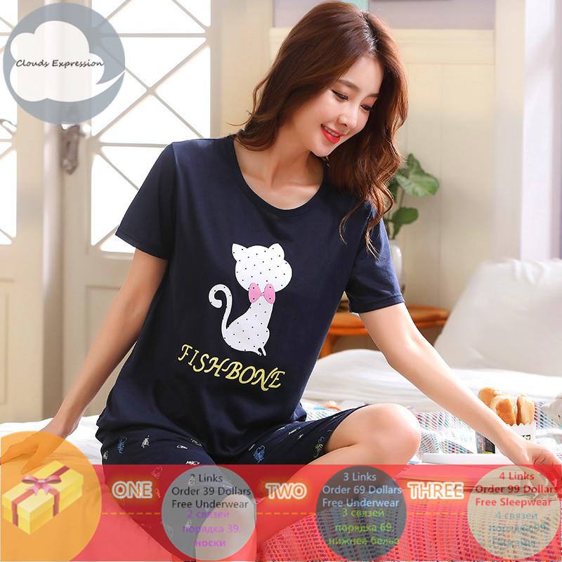 Brand New Knitted Cotton Summer Short Sleeved Plus Size M-5XL Women   Pajamas     Set   Pyjamas Women Sleepwear Cute Cartoon Pijamas