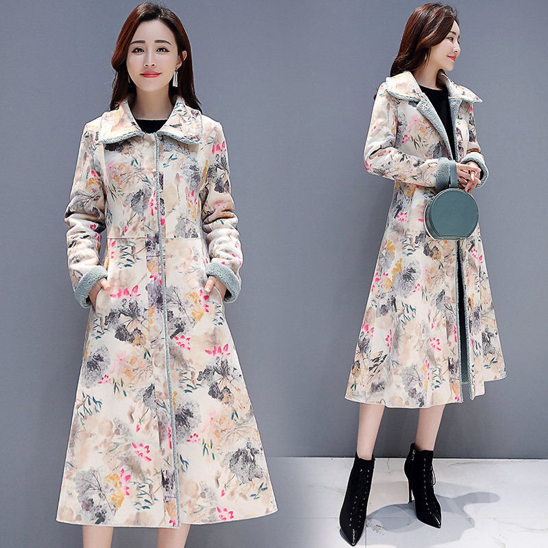 Floral Elegant Trend Square Collar Printed Cotton Coat 2018 Winter New Style Middle Long Coat
