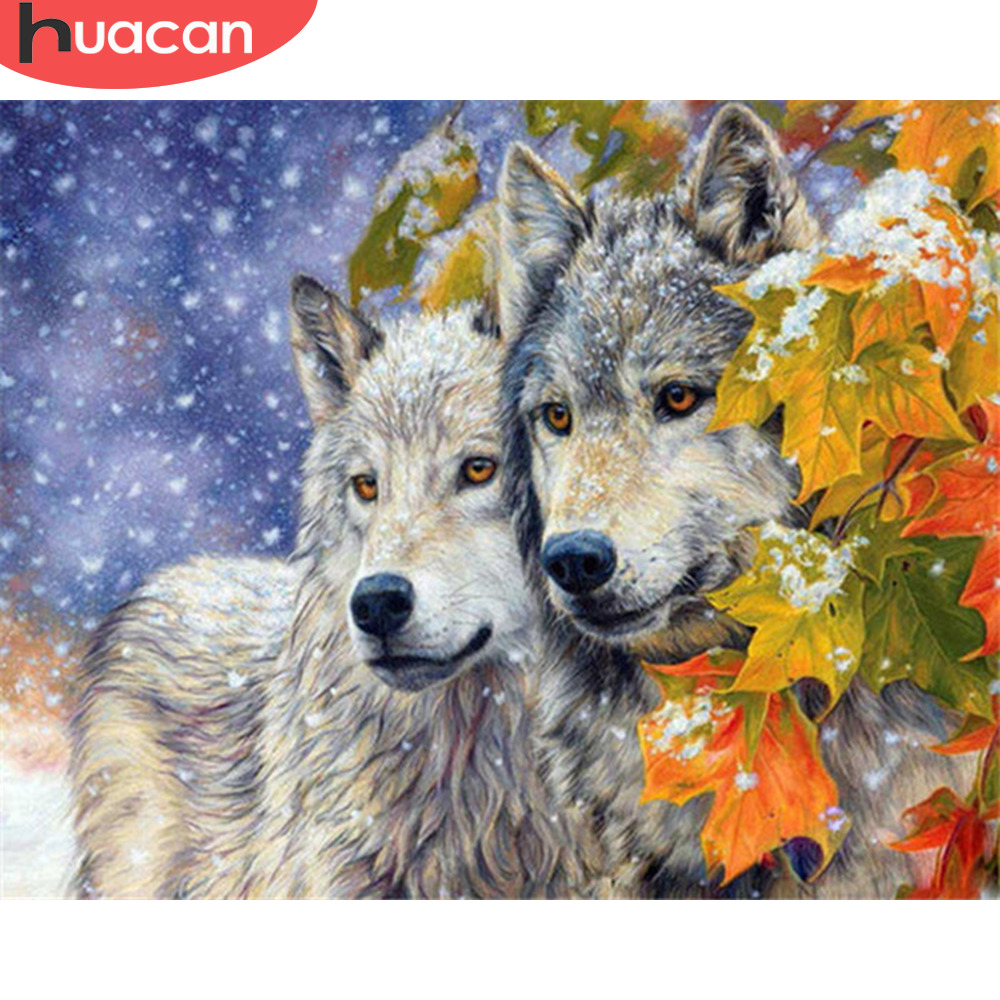 HUACAN Oil Painting By Numbers Wolf Kits Drawing Canvas DIY Pictures By Numbers Animals Winter Hand Painted Home Decor