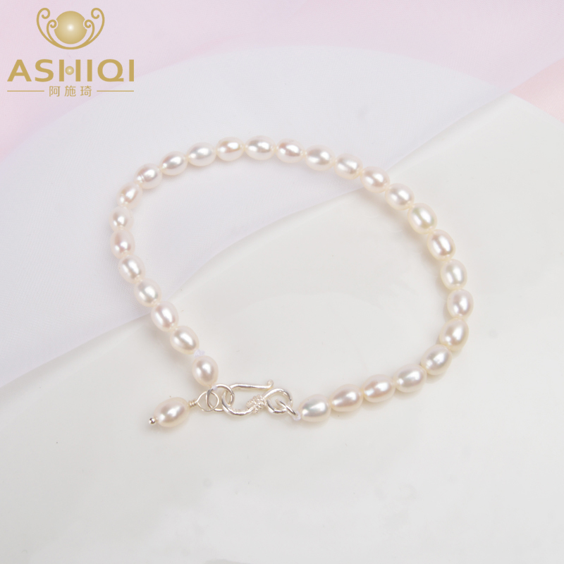 ASHIQI 4-5mm Natural Freshwater Pearl Bracelets 925 Sterling Silver Jewelry For Women Gift