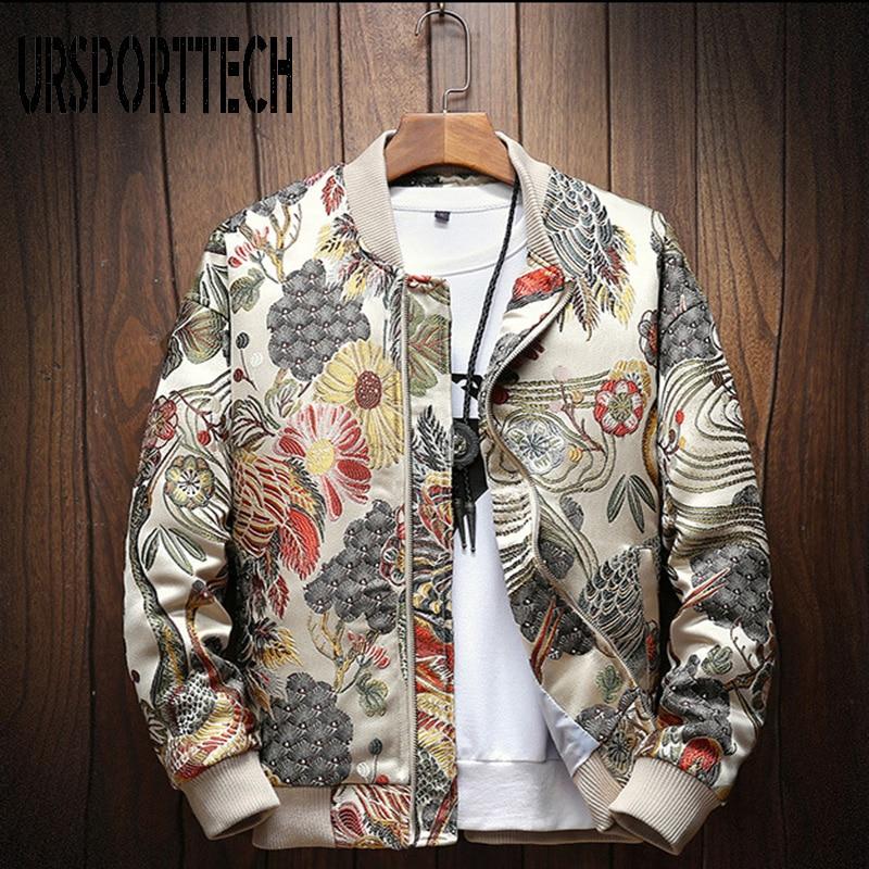 URSPORTTECH New Autumn Winter Casual Jacket Men Coat Japanese Embroidery Slim Fit Bomber Jacket Male Windbreaker Men Coats M-5XL