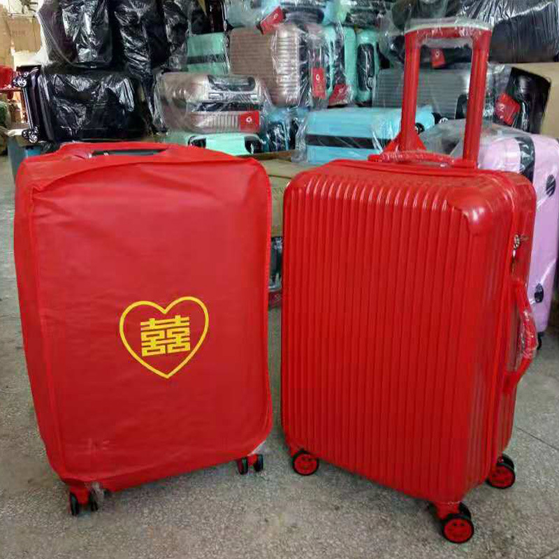 Bright Red Marriage Leather Suitcase Travel Trolley Universal Wheel 20-Inch 24-Inch Wedding Bar Hi Box Password Suitcase Wholesa
