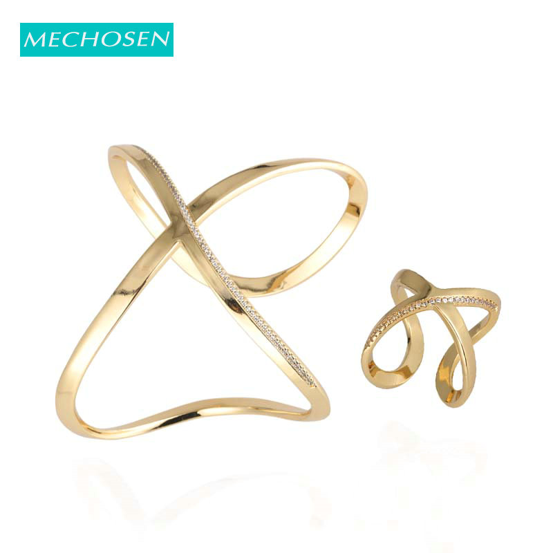 MECHOSEN Trendy Geometric Shape Gold Zircon Ring Bangle For Girls Women's Party Holiday Wedding Dress Jewelry Set Best Gift 2019
