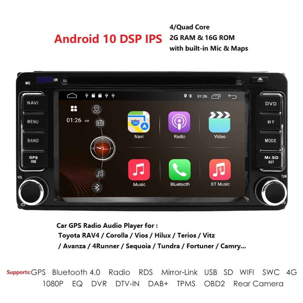 2 din Car Radio GPS Android 10 CAR DVD Player For Toyota RAV4 COROLLA Land cruise 100 200 Camry yaris prado 150Hilux ViosTerios image