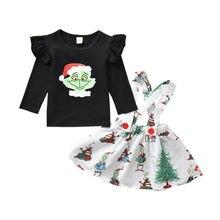 Комплекты одежды для новорожденных девочек Рождественская одежда с длинными рукавами и рисунком футболка платье с нагрудником