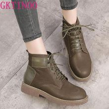 GKTINOO Women Warm Snow Boots Female Genuine Leather Lace Up Ankle Boots Women Shoes Women Boots Winter Shoes
