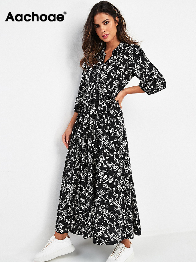 Shirt Dresses Robe Collar Three-Quarter-Sleeve Boho Floral-Print Aachoae Vintage Casual