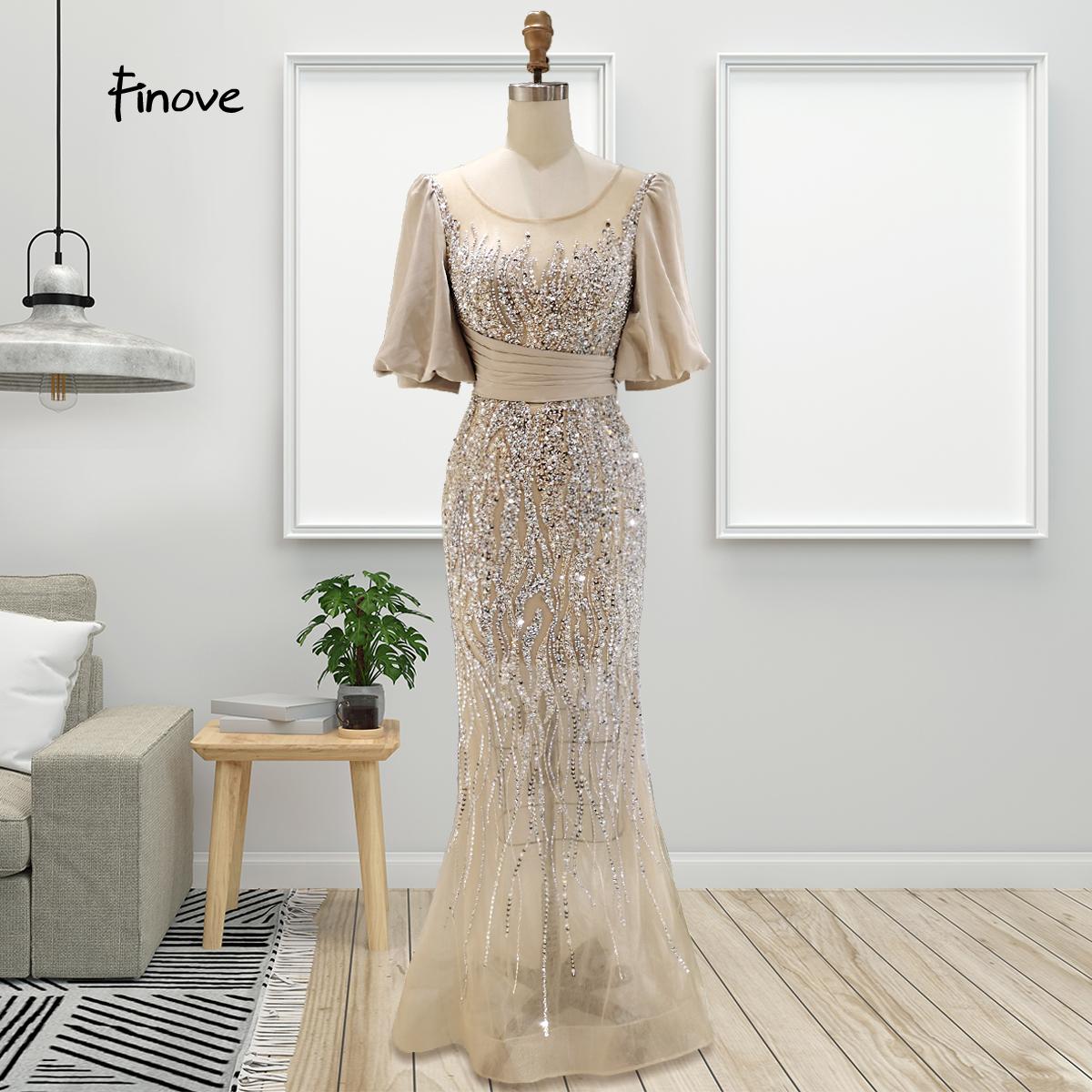 Finove Luxury Champagne Evening Dresses 2021 Elegant O Neck Half Sleeves Beading Mermaid Dresses Formal Evening Gowns