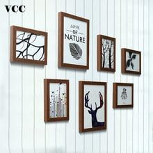 7 pçs moldura de madeira para parede pendurado quadro de imagem foto 13x18 20x25cm casamento casal recomendação fotos quadros