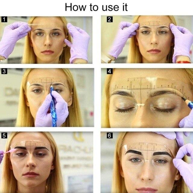 1 pc Reusable Semi Permanent Razor Eyebrow Microblading Tool Ruler Stencil Metric Eyebrow Tweezer Eyebrow Guide Makeup Z8T0 5