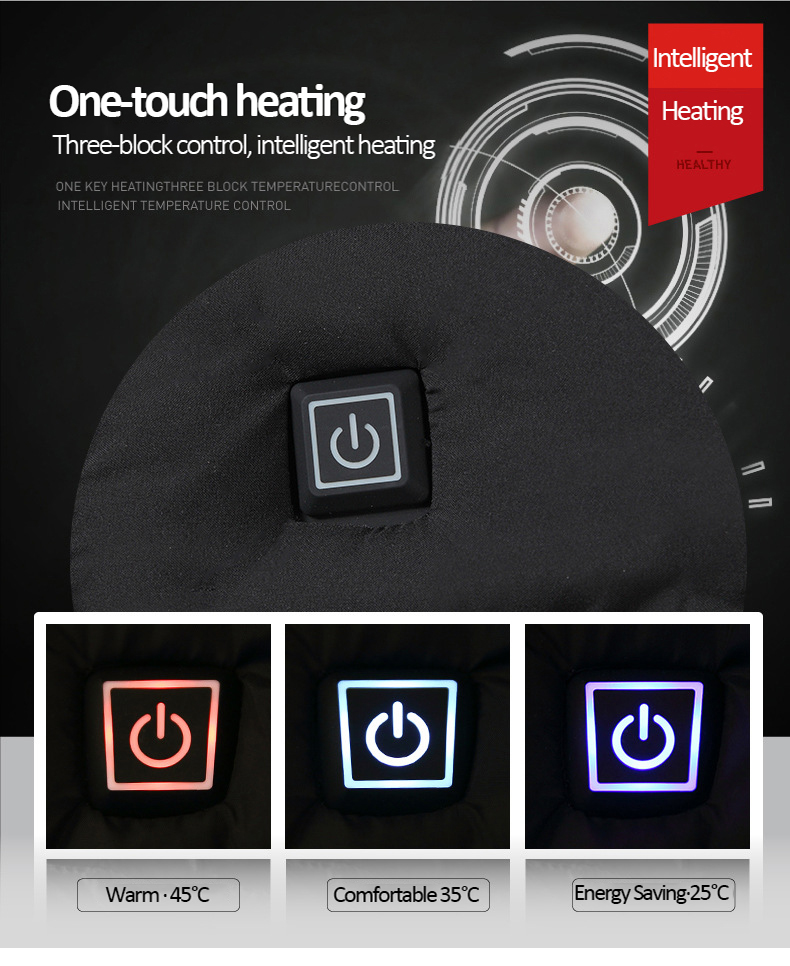 2020 NWE Men Winter Warm USB Heating Jackets Smart Thermostat Pure Color Hooded Heated Clothing Waterproof Warm Jackets 3