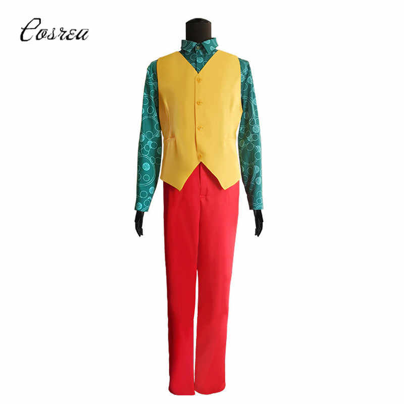 Joaquin Phoenix 2019 Costume Suit Halloween Cosplay Retro Red Shirts Outfit for Men Kids
