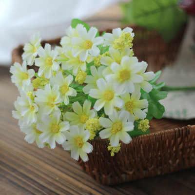 7 Forks ประดิษฐ์ Gerbera Daisy ดอกไม้สำหรับตกแต่งบ้านสวน DIY Arches แต่งงานดอกไม้เจ้าสาวช่อดอกไม้ Flores