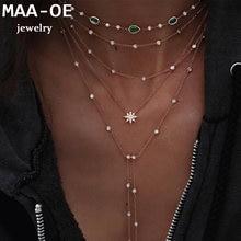 Moda ouro cor pedra sol pingente de cristal colares para mulheres colar multi nível feminino boho vintage jóias presente de casamento