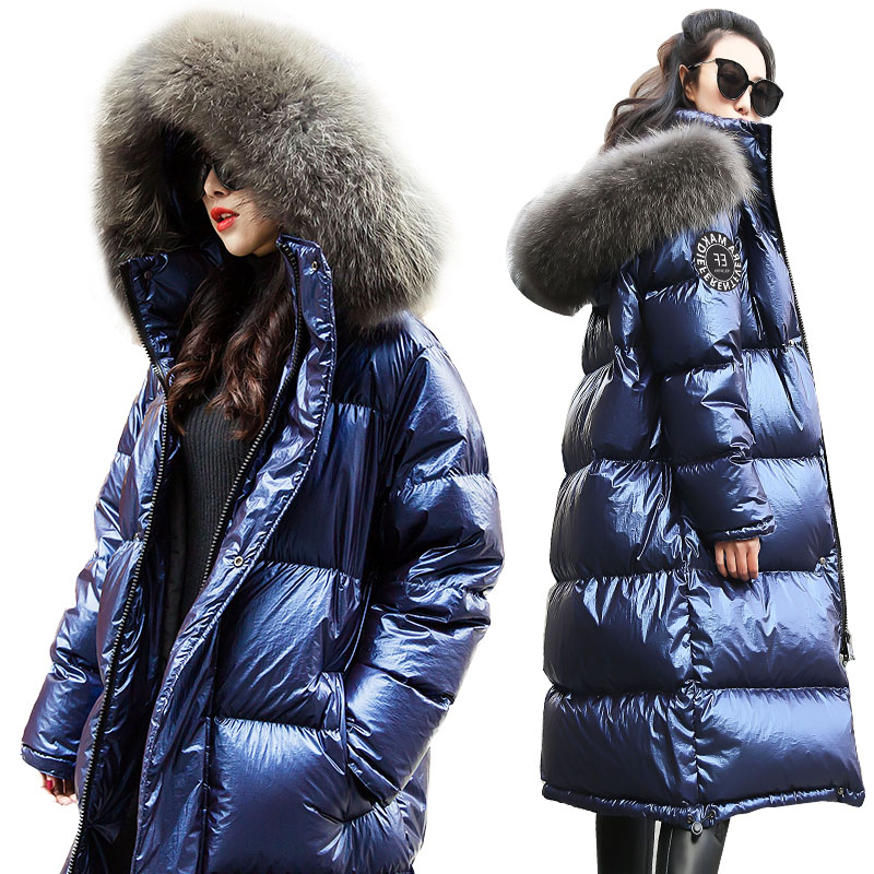 Big Fur Collar White Duck   Down   Jackets Winter New Thicken Long Warm Women   Down     Coats   Hooded Plus Size Bright Female Outerwear