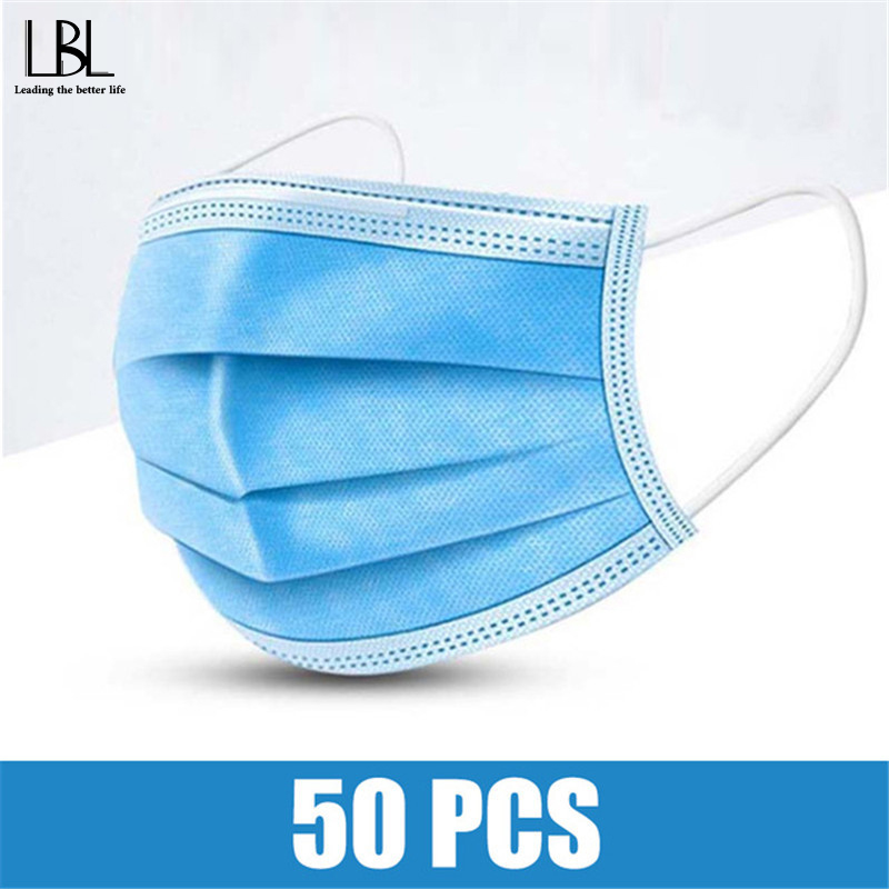 50 PCS/Bag 3 Layer Non-Woven Earloop Dust Mask Thickened Disposable Mouth Mask Men Women Safe Breathable Elastic Dustproof