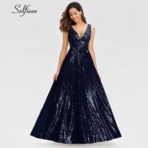 Image 4 - האופנה Sparkle נשים שמלת אונליין כפול V צוואר שרוולים נצנצים ערב המפלגה שמלת גבירותיי זהב מקסי שמלת לנגה Jurken