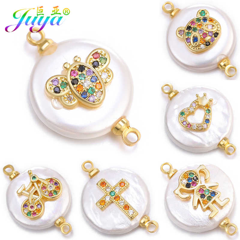 Juya DIY Making Earrings Bracelets Connectors Supplies Micro Pave Zircon Shell Charms Pearls Connectors Accessories Wholesale