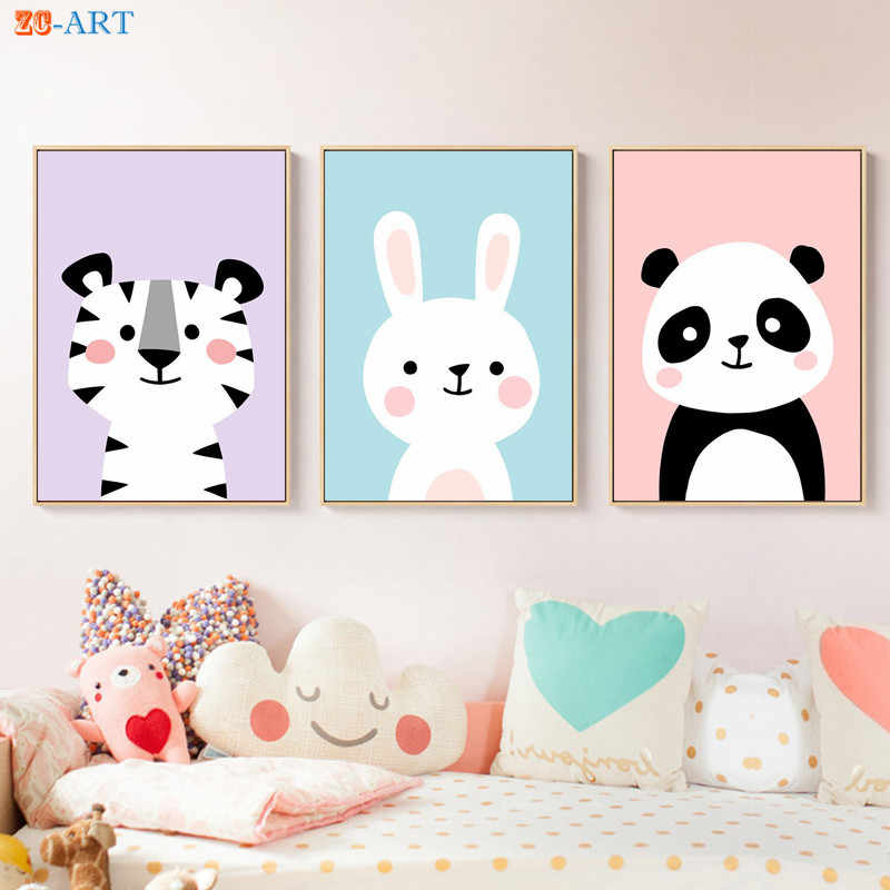 Nursery Wall Art Baby Animals Prints Bunny Panda Tiger Poster Cute Lovely Canvas Painting Baby Girls Room Decoration Pictures Painting Calligraphy Aliexpress