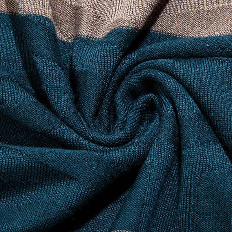 2020 새로운 패션 브랜드 스웨터 망 풀오버 V 목 슬림 맞는 점퍼 니트 스트라이프 겨울 한국 스타일 캐주얼 의류 남자