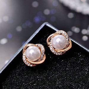 Fashion Jewelry Simulated Pearl Rhinestone clip on Earrings Cute Earrings For Women Shiny Crystal Wedding Ear Clip Jewelry