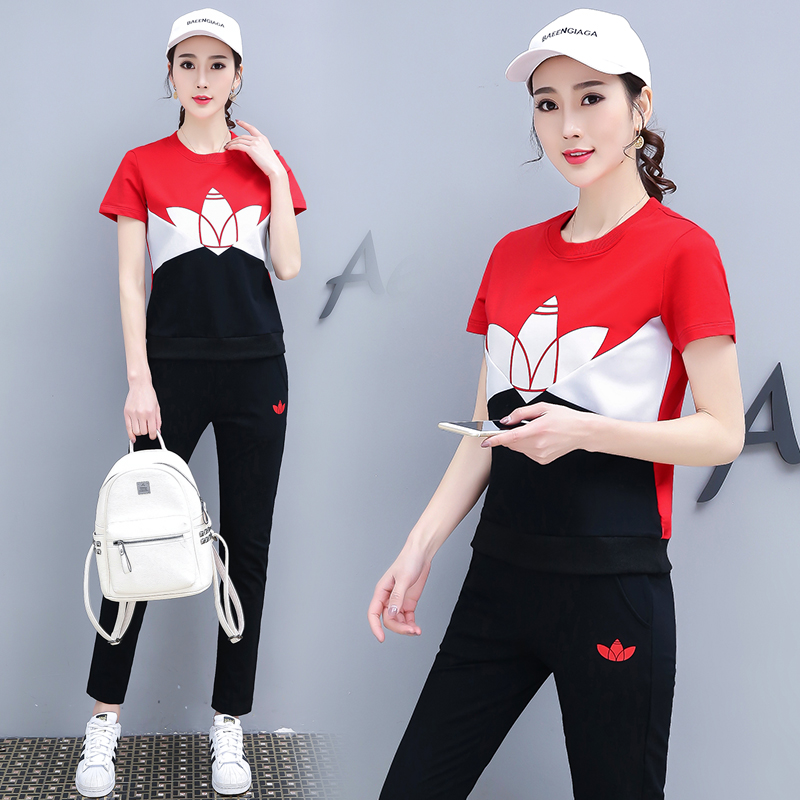 Spring And Summer New Sports Casual Short Sleeve Clothes Yellow Printing 2 Piece Set Women Pink Red Plus Size