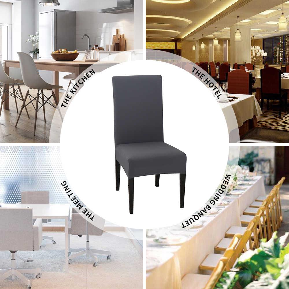 Fundas lisas elásticas para sillas de Hotel, cocina, comedor, banquete 1/2/4/6 uds, funda de LICRA de Color sólido para silla