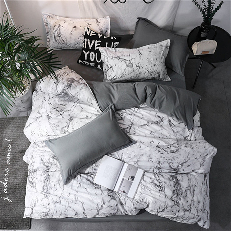 Denisroom New Arrival Classical Double sided Bed Linings Concise Style Bedding Set Quilt Cover Pillowcase Cover
